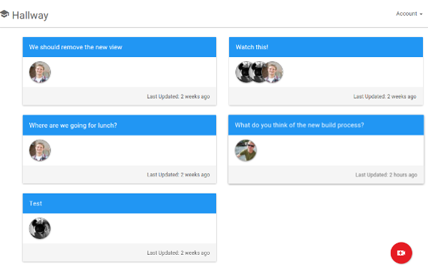 The main navigation page for the application. Videos are grouped into conversations. When a user clicks on a conversation the videos automatically play in succession.