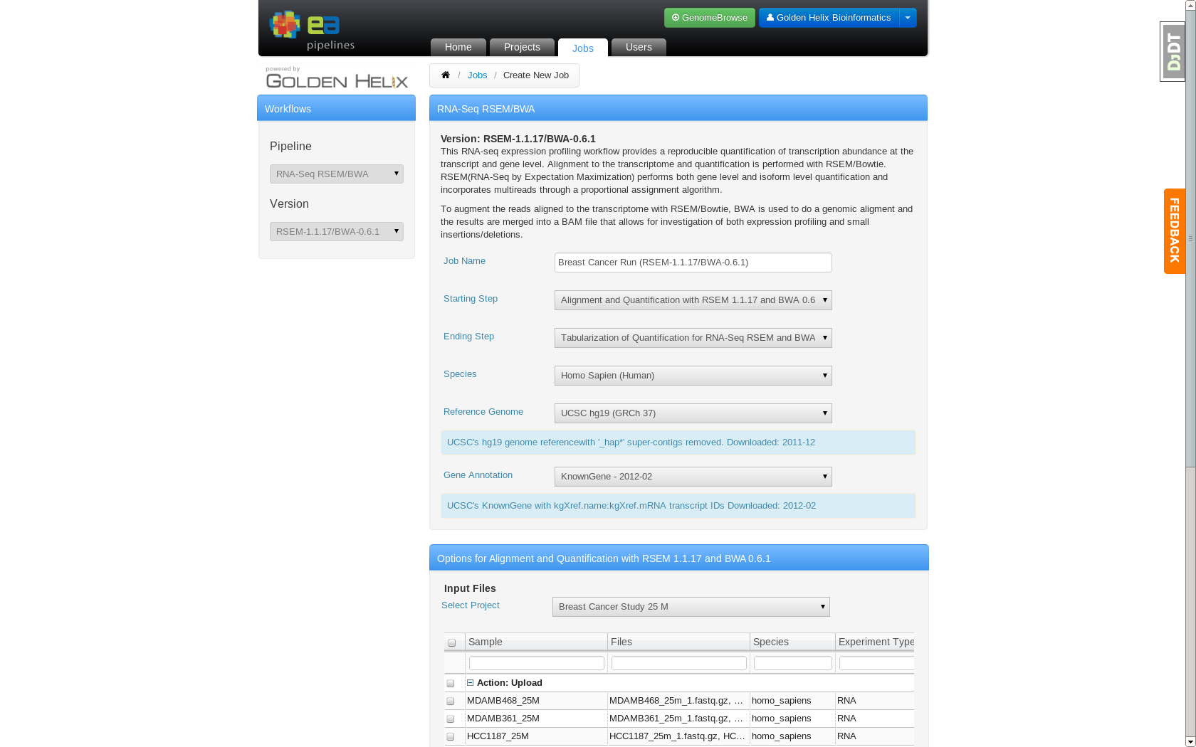Job Creation page which allows users to specify analysis settings